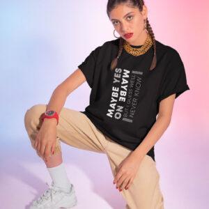 naiste t-särk tshirt must black maybe blacksunset eesti disain
