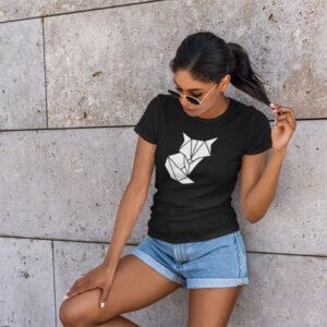 Naiste t-särk Foxy origami fill must BlackSunset kleebime.ee