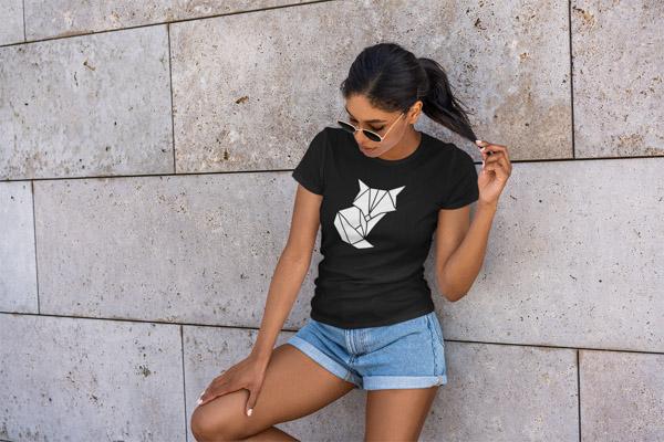 naiste must t-särk tshirt rebane origami fill blacksunset eesti disain