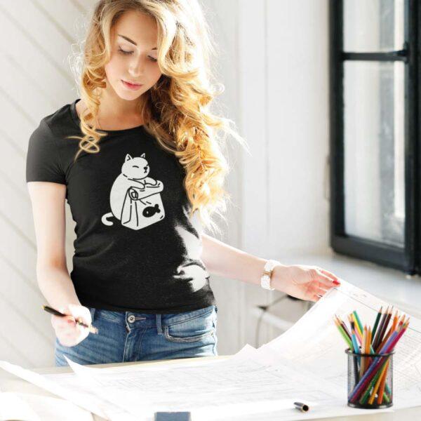 Naiste t-särk tshirt must kassi toit BlackSunset eesti disain