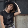 Naiste T-särk joonistus naise siluet tshirt blacksunset eesti disain