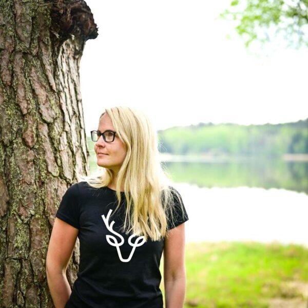 Naiste T-särk hirv origami tshirt blacksunset eesti disain-1-5_1