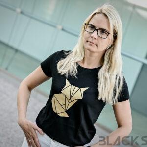 Kuldne rebane origami naiste t-särk BlackSunset eesti disain pärnu